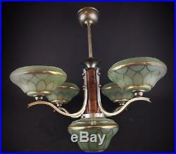 Ancien lustre lampe suspension art déco ou 1950 vintage à 5 feux