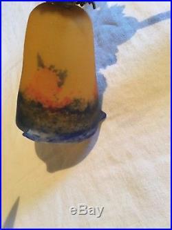 Ancien lustre plafonnier Art Deco pâte de verre signé degué lampe muller daum