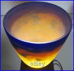Ancien obus globe chapeau vasque muller frères luneville de lampe pâte de verre