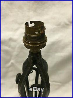 Ancien pied de lampe Art Déco en fer forgé pour lampe Daum Muller Brandt
