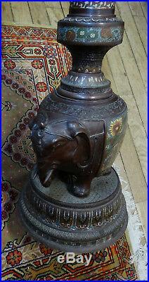 Ancien pied de lampe en bronze avec emaux cloisonnés origine japon (C4)