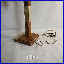 Ancienne LAMPE LE TANNEUR cuir sellier signé desk lamp tischlampe Design ADNET