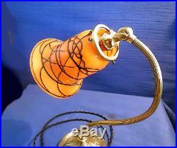Ancienne Lampe Articulée Et Tulipe Pte De Verre Powolny, Loetz Art Deco