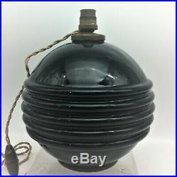 Ancienne Lampe Boule Art Deco En Opaline Noire Dlg Adnet