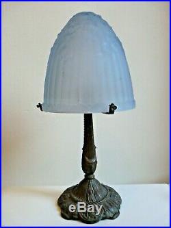 Ancienne Lampe Champignon Art Deco Pied Bronze Dome Verre Presse Moule Bleu