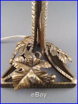 Ancienne Lampe Champignon luminaire à poser ART DECO pâte de verre et fer forgé