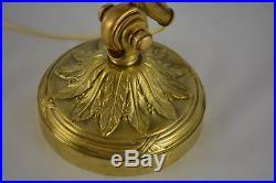 Ancienne Lampe De Bureau En Bronze Et Pate De Verre