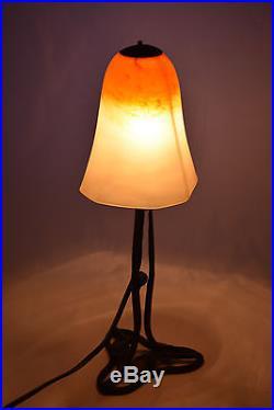 Ancienne Lampe En Pate De Verre Et Fer Forge Schneider Non Signe