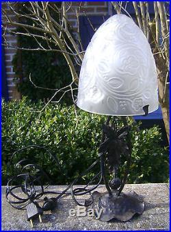 Ancienne Lampe Fer Forge Art Deco 1930 N2780