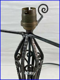 Ancienne Lampe Fer Forgé art déco, Dôme en verre moulé a déco papillons