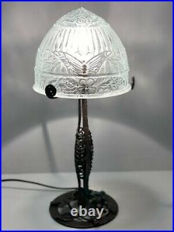Ancienne Lampe Fer Forgé art déco, Dôme en verre moulé décors papillons