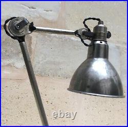 Ancienne Lampe GRAS 206 SGDG nickelée Art Deco Bauhaus Factory Table Lamp 1920