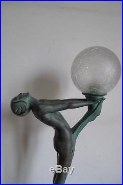 Ancienne Lampe Model Lueur Lumineuse Signee Le Verrier Paris XX Art Deco