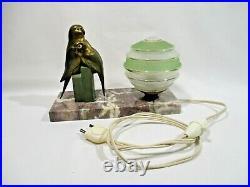 Ancienne Lampe Veilleuse De Chevet Oiseaux Perruche Art Deco Old Lamp Alte Lampe