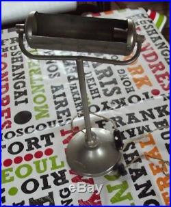 Ancienne Lampe de Bureau Chevet métal brossé art deco interrupteur bakélite fil