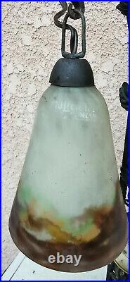 Ancienne Lampe, pied Fer forgé Muller Frères Luneville Tulipe Art Déco, pendulette