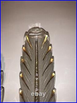Ancienne Paire Appliques Art Déco Signée Petitot Vintage Lampe