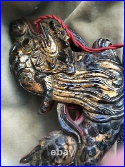 Ancienne applique Indochine, laque, dragon, Vietnam, art déco, 1930, lampe
