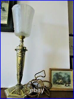Ancienne grande lampe bronze massif Argenté tulipe MULLER Frères verre moulé