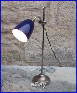 Ancienne lampe Marque MONIX début XXe Articulée opaline bleue