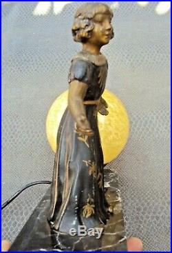 Ancienne lampe art-déco en régule et marbre début 20 ème