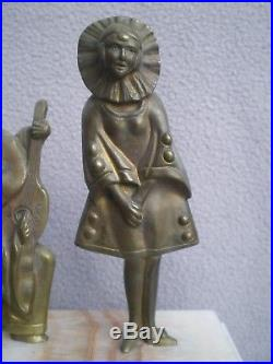 Ancienne lampe art deco sculpture pierrot et femme en bronze antique statue lamp