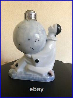 Ancienne lampe berger pierrot porcelaine art déco Camille Tharaud