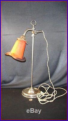 Ancienne lampe de bureau réglable tulipe pate de verre signée MULLER art déco