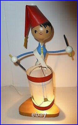 Ancienne lampe design soldat tambour vintage Art Deco style Suzanne Bonnichon