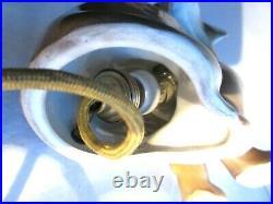 Ancienne lampe veilleuse Art Déco en céramique Chien Teckel marron, yeux sulfure