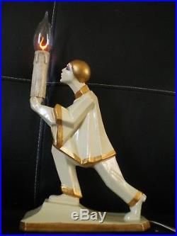 Ancienne lampe veilleuse art deco 1930 statuette pierrot vintage lamp statue 30s
