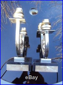 Ancienne paire de lampe art-déco en métal chromé et marbre