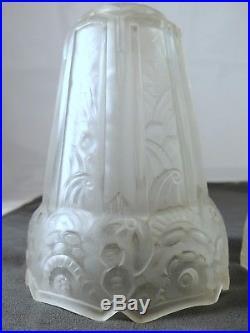 Ancienne paire de tulipes ART DECO 1930 signé MAYNADIER Lampe applique Lustre