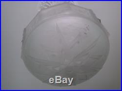 Ancienne vasque coupe lustre plafonnier MULLER FRERES lampe art nouveau deco