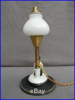 Ancienne veilleuse femme baigneuse art deco 1930 statuette en porcelaine lampe