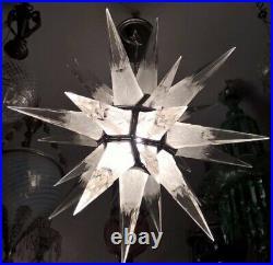 Antique Art Deco Rock Crystal Star Light Pyramid Lustre Au Plafond Lampe