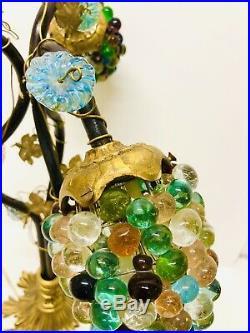 Antique Murano belle lampe déco en bronze grappes raisin art nouveau
