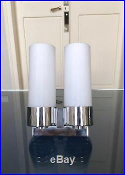Applique Art Déco moderniste Luminaire Lampe verre dépoli Chrome Décoration