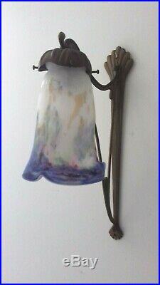 Applique Art Nouveau Lampe 1910 Tulipe Vasque Muller Degue Daum Lustre