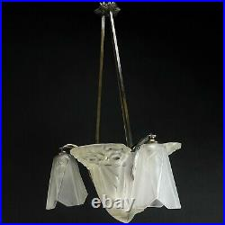 Art Déco Lustre Lampe à Suspension Signé Degué Lampe Plafond