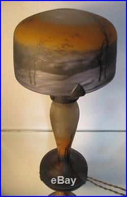 Authentique LAMPE MULLER FRERES PATE DE VERRE Art Nouveau GRAVEE ERA DAUM GALLE