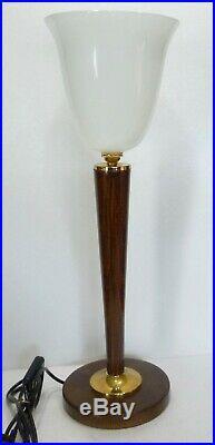 Authentique LAMPE de bureau style ART DECO tulipe opaline blanche