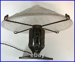 Authentique Lampe Muller Freres Luneville 1930 Pieds Fer Forgé Kiss Ou Brantd