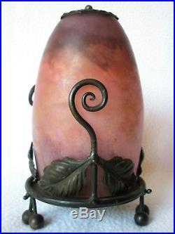Authentique lampe veilleuse monture Fer forgé et verre DAUM NANCY Art-Déco