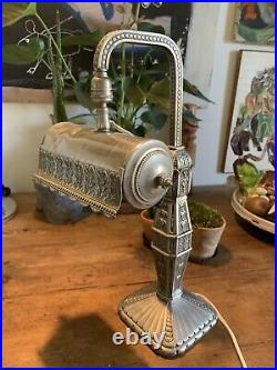 Belle Lampe Art Deco 1920 Ancienne Piano Bureau Bronze Argenté Antique Desk Lamp