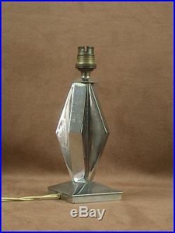 Belle Lampe Art Deco Moderniste Geometrique En Bronze Chromé