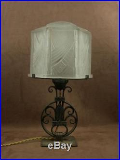 Belle Lampe Epoque Art Deco Fer Forge Et Dome Signe Hettier Vincent