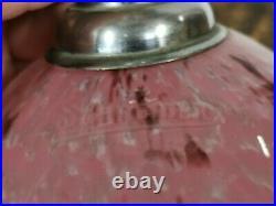 Belle Lampe Lustre Suspension signée SCHNEIDER verre rose moucheté, Art déco