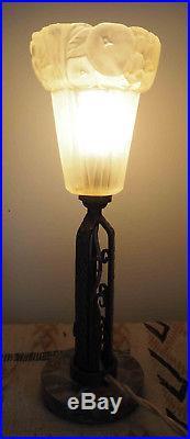 Belle lampe Art déco (1930) Fer forgé / marbre et pâte de verre cf. E. Brandt
