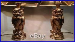 CHIC PAIRE DE LAMPES EN LAITON DORÉ HIBOU GILT OWL LAMP design 60's -70's